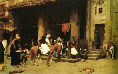 Oil Painting repro Jean-Leon Gerome A Street Scene and Albanian Patrol in Cairo
