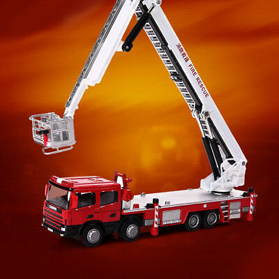 1:50 Scale Metal Diecast Fire Truck Ladder Construction Vehicle Cars Model Toys