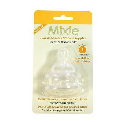 Mixie Baby Bottle Replacement Nipples STAGE 1 Newborn 3 mos.