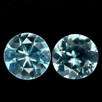 3.08 Ct Natural! Pair! Sky Blue Brazilian Topaz Round