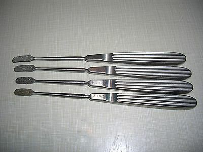Lot Of 4 V Mueller Curved Diamond Surface Rasps Surgical Stainless Steel Lab Vet