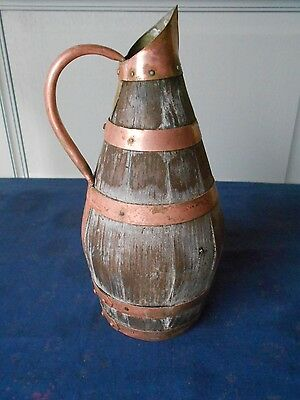 Antique french shabby & chippy wood Pitcher w/ copper bands