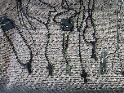 8 necklaces BLACK CROSS,Tiger DOG TAG,PUNK,ROCK,goth ELECTRO,JOB LOT,ska,BIKER