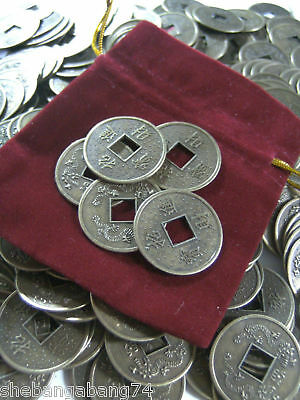 Feng Shui Prosperity/Fortune 'Lucky Money' attract wealth 5 coins & Pouch