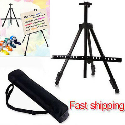 Portable Metal Telescopic Tripod Easel Display Painting Stand 52-160cm w/ Case