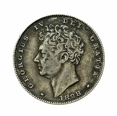 George Iv Silver Sixpence 1828