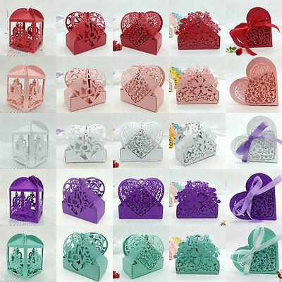 50PCS Heart Model Wedding Favor Boxes Party Candy Gift Decoration with Ribbon