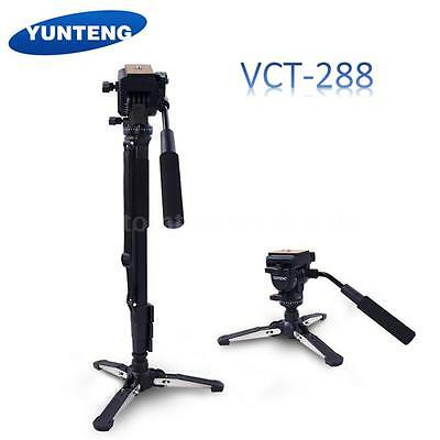 YUNTENG DSLR Camera Tripod Stand Monopod Fluid Pan Head & Unipod Holder Bracket