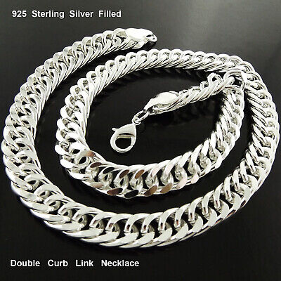 A8+A844 Genuine Real 925 Sterling Silver S/f Solid Men's Curb Necklace Chain