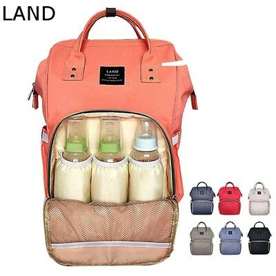 LAND Large Capity Mummy Bag Baby Diaper Nappy Maternity Changing Travel Backpack