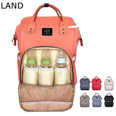 LAND Large Capity Mummy Changing Bag Baby Diaper Nappy Mursing Travel Backpack