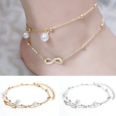 Women Double Chain Ankle Anklet Pearl Bracelet Barefoot Beach Foot Jewelry