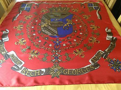 RARE VINTAGE GEORGES RECH HAND ROLLED SILK SCARF.  VGC.  34 x 32 INCHES.