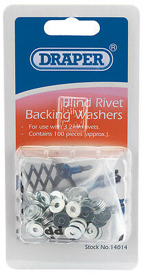 Genuine DRAPER 100 x 3.2mm Rivet Backing Washers | 14014