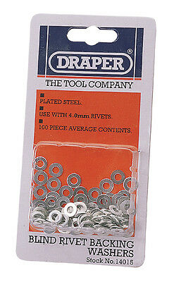 Genuine DRAPER 100 x 4mm Rivet Backing Washers | 14015