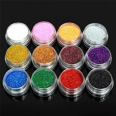 12 Color Fine Dust Cosmetic Glitter Temporary Tattoos Body Art Face Paint Powder