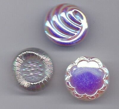3 iridescent glass vintage buttons - large