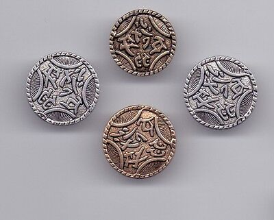 4 metal buttons - with script