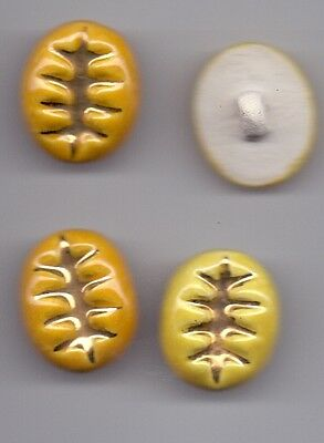4 vintage ceramic buttons - yellow with gold