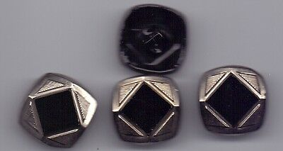 4 vintage glass buttons - black with silver