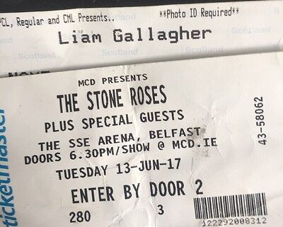 Liam Gallagher, Glasgow / The Stone Roses Belfast,concert ticket Stubs, June '17