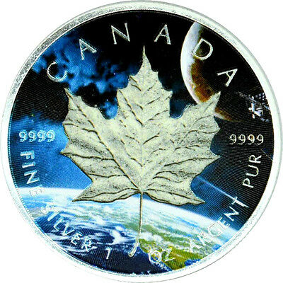 1 OZ Silber Maple Leaf 2014 GLOW IN THE DARK Color Edition