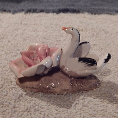 Vintage Miniature Le Coq d'Or Charleroi Italian Swan And Rose Figurine