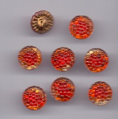 8 red glass vintage buttons - bumpy!