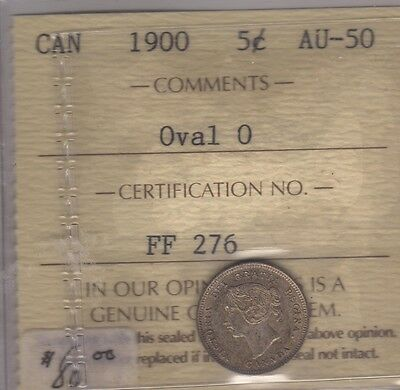 1900 Canada Silver Five Cents Cent Coin. ICCS AU-50