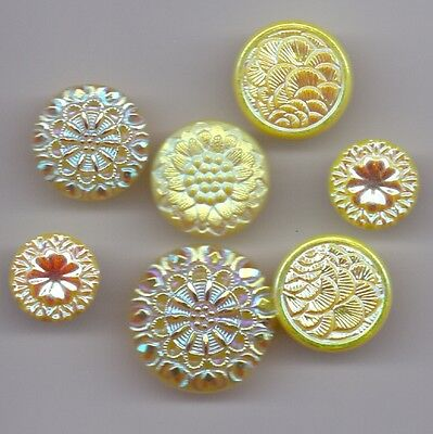 7 iridescent glass vintage buttons - yellow!