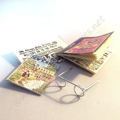 Dolls house 12th Scale Glasses Newspaper and  Magazine
