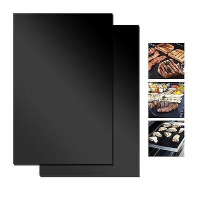 2x BBQ Grill Mat Cover Non Stick Reusable Baking Sheet Meat Vegetable Barbecue