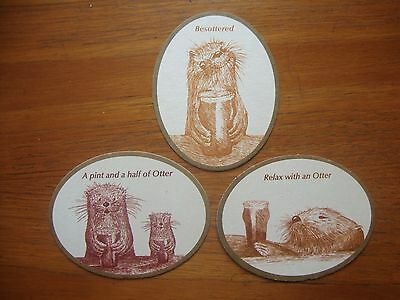 3  Different  Otter  Brewery   Beer  Mats / Coasters   New