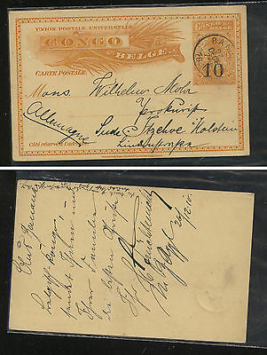 Belgian  Congo , Banana, postal card revalued to Germany 1910             MS0205