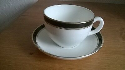 Wedgwood Bone China Cup & Saucer, White, Black & Gold: Charity Sale