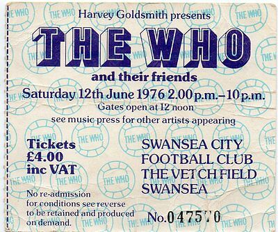 The Who Concert Ticket 1976 Vintage Original Fully Dated Ticket 41Years Old Gem