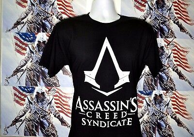 New ASSASSIN'S CREED SYNDICATE UNITY MENS Short Sleeve BLACK T-SHIRT XL size