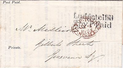 GB : NORWICH UNION INSURANCE LETTER, 'LUDGATE HILL 2py PAID & TP 7 NIGHT' (1825)