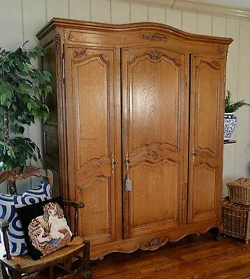 Antique French Country Wardrobe Armoire 3 door shelves hanging rod fitted inside