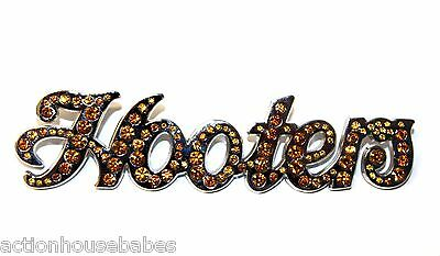 "Hooters Silver Orange Rhinestones Hooters Name 3 1/2"" Lapel Pin Button"