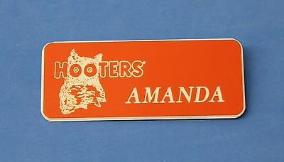 Hooters Restaurant Girl Amanda Orange Name Tag (Pin)