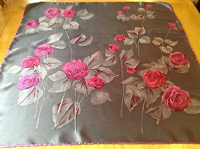 VINTAGE HAND ROLLED FLORAL SCARF.  26 x 26 INCHES.  BEAUTIFUL!