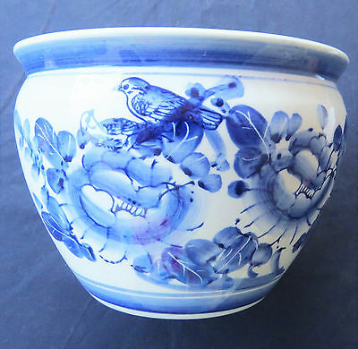"""Vintage Chinese Pot  Planter in Blue and White Bird Floral Hand Painted 6x8"""""""