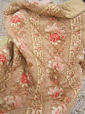 ANTIQUE FRENCH PINK PEONIES HIBISCUS ? FLORAL QUILT BOUTIS PROVENCE ca1930