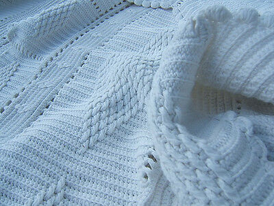 Antique Quilt Bedspread Crochet Bed Cover South French France Knitted Crocheted