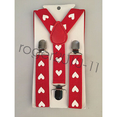 Boys Girls Perform Children Clip-on Adjustable Elastic Heart Suspenders GHH0034