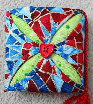 """Brand New Hand Made Exquisite """"cathedral Window"""" Needle Case -100% Cotton Fabric"""