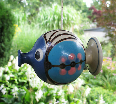 Studio Pottery Hanging Fish Figurine 1998 Blue Pink Brown Signed  4 1/2""