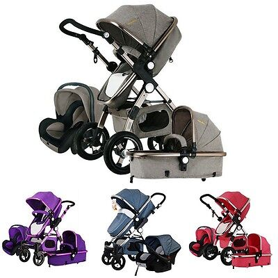 New Baby Stroller 3 In 1 Folding Infant Pushchair Carriage With Auto Safety Seat