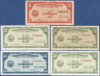 Nd(1949) Philippines, 5-20-50 Centavos, Lot Of 5 Notes